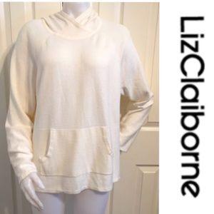Liz Claiborne, Cream Knit Kangaroo Pocket Sweater